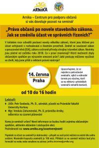 SEMINÁŘ: Práva občanů po novele stavebního zákona - jak se změnila účast ve správních řízeních?