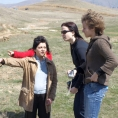 Laura Khachatryan points at the pesticide burial site